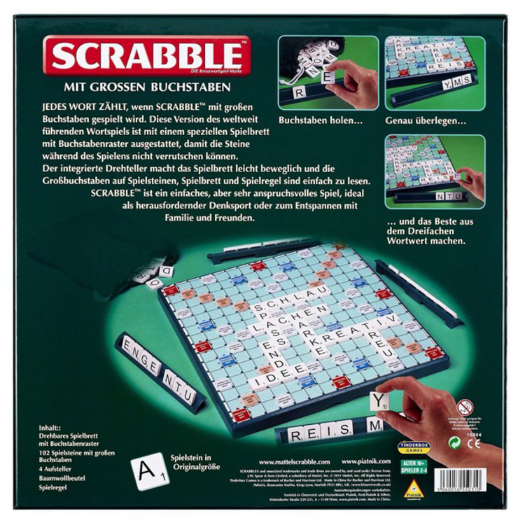 scrabble gro e buchstaben gesellschaftsspiel brettspiel wortspiel neu ovp ebay. Black Bedroom Furniture Sets. Home Design Ideas